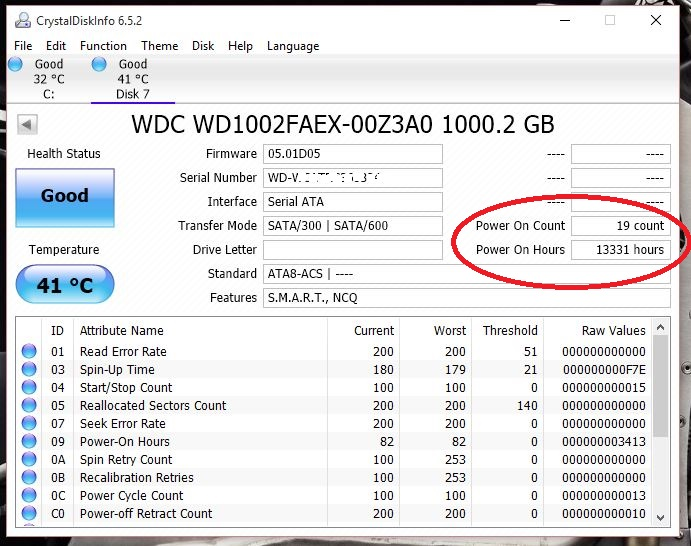 WD HD USED HOURS2